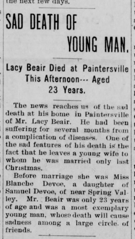 1903 Lacy (or Lacey) Beair (1880-1903) obituary