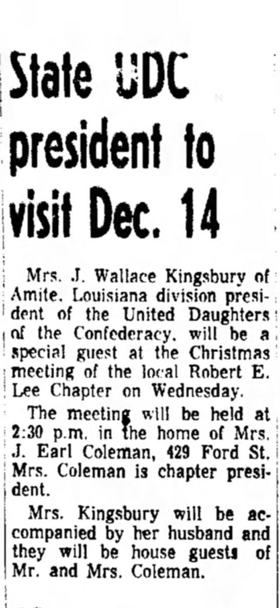 Coleman, Mrs. Earl, UDC meeting announcement, 11 Dec 1966