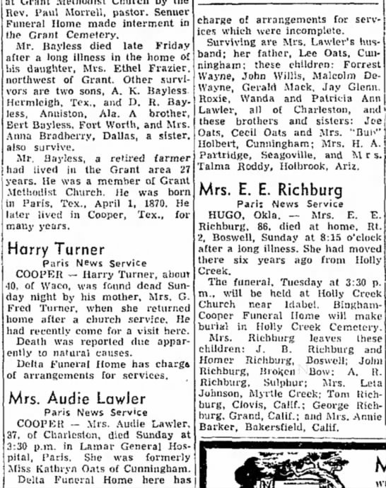 The Paris News18 Aug 1952May Kathryn Oats Lawler