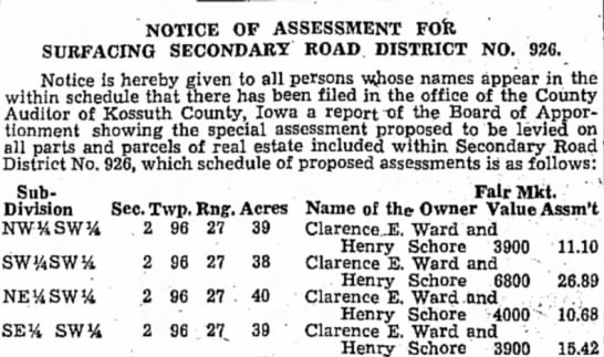 Notice of Assessment for Surfacing Secondary Road District No. 926
