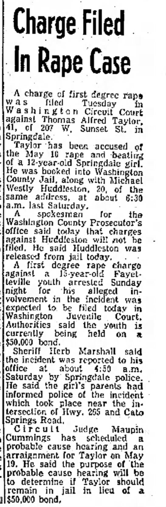 Thomas Alfred Taylor Northwest Arkansas Times, Fayetteville, Arkansas, Wed,5-14-1975 Page 1