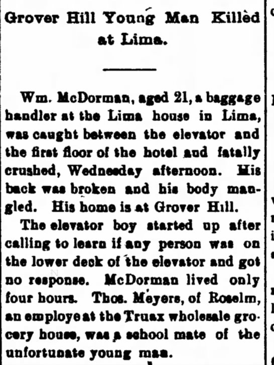 William McDORMAN ~ Grover Hill - man killed in accident at Lima ~ 18 Jan 1900
