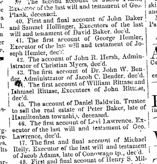 30 april 1867 estate settlements Peter and David Baker