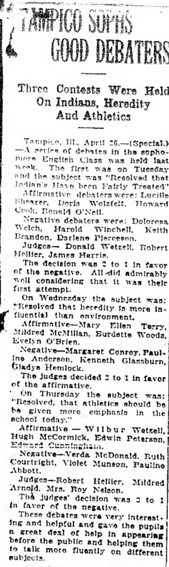 Margaret Conroy Apr 26, 1926 Sterling Daily Gazette