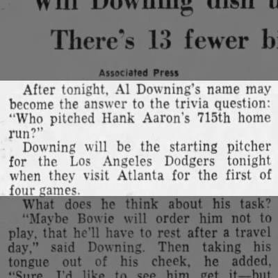 Al Downing pitched