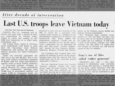Last U.S. troops leave Vietnam today