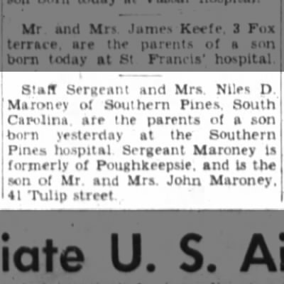 Staff Sergeant and Mrs. Nile D. Maroney are the parents of a son.