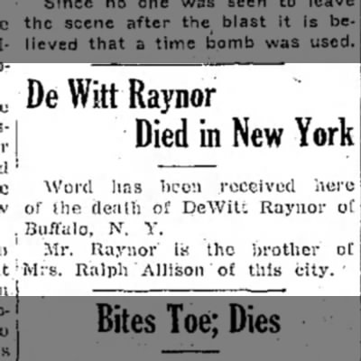 DeWitt Raynor Died
