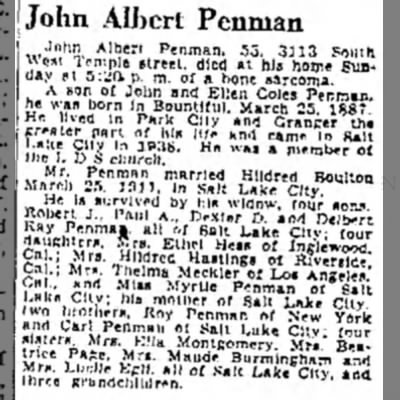 Obituary of John Albert Penman