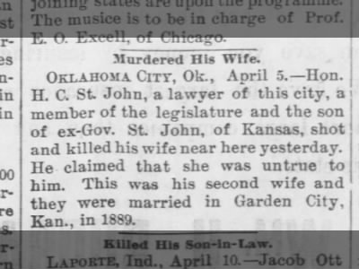 H. C. St. John murdered wife because she was 'untrue' to him.