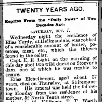 Eichelberger Elias obit listing from 20 years ago 7 Oct 1876 from the LDN 10 Oct 1896