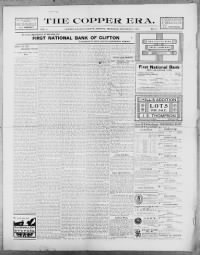 Sample The Copper Era And Morenci Leader front page