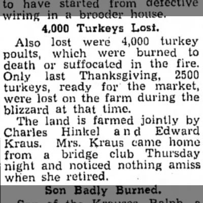 4,000 Turkeys Lost C. Hinkel and Edward Kraus