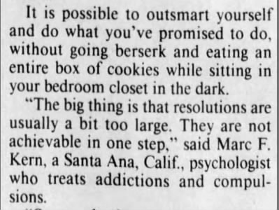 90s brings about more advice on keeping resolutions. 1991