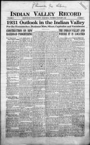 Sample Indian Valley Record front page