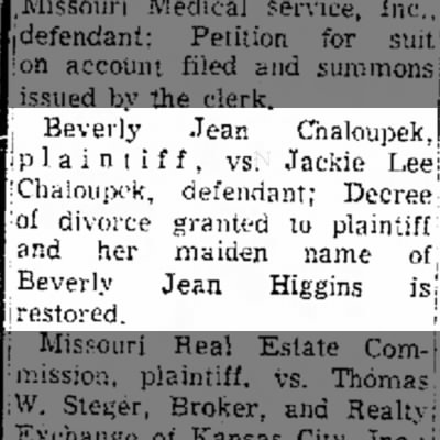 Higgins Chaloupek divorce 1970