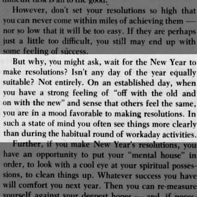 Argument for the New Year resolution as opposed to any day, 1957