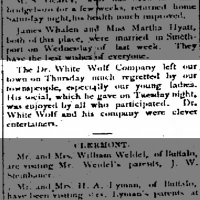 The Dr. White Wolf Company Jul 24, 1896