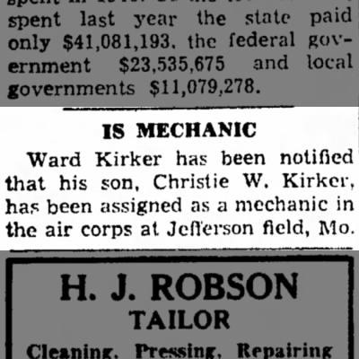 Christie Kirker in Missouri 1942