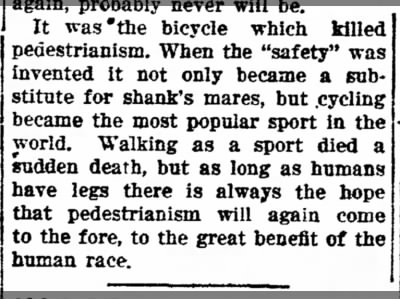 It was the bicycle which killed pedestrianism