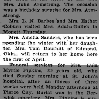 Mrs. Tom Douthitt Apr 2, 1925