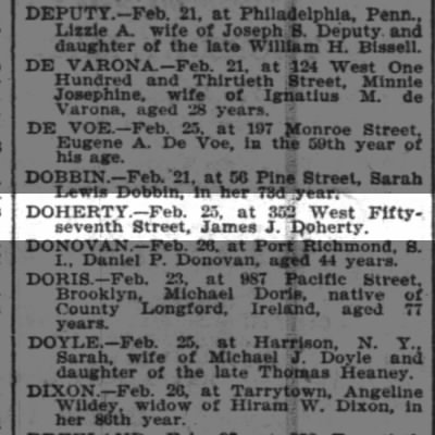 James J Doherty death 1903