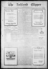 Sample Ashland Clipper front page