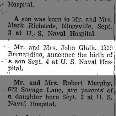 John William Gluth Jr - birth announcement