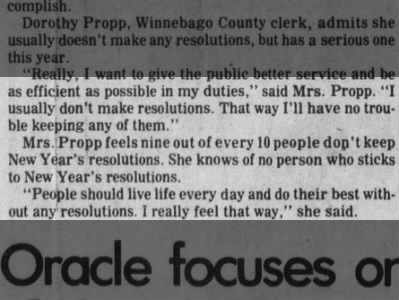 Dorothy Propp one of many to doubt the lasting power of New Year's resolutions, 1979