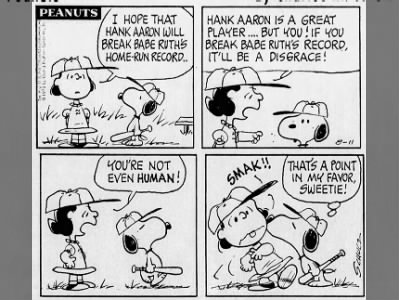 Peanuts' quiet criticism over Hank Aaron hate mail