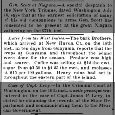 Guayama trade crop report July 1852