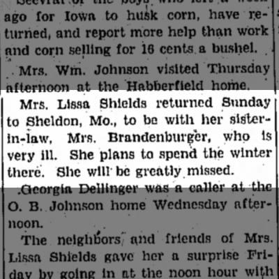 NM Shields taking care of her sister-in-law, Mrs. Brandenburger