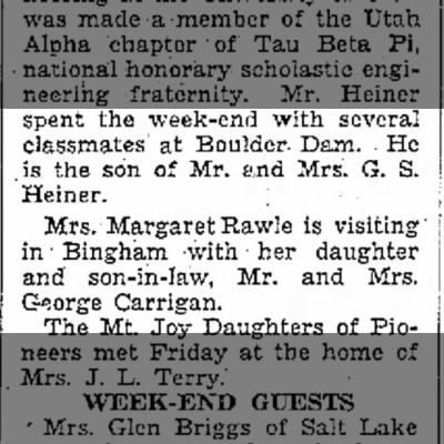 1936 Mrs. Margaret Rawle is visiting daughter in Bingham