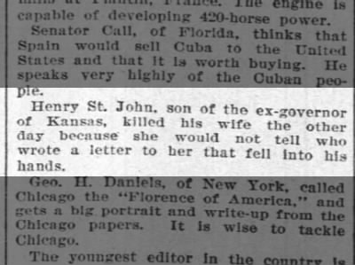 Henry Clay St. John son of John Pierce St. John killed wife