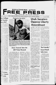 Sample Southern Utah Free Press front page
