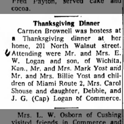 Carmen hosts Thanksgiving dinner - Yosts, Shouse, and Logans attend