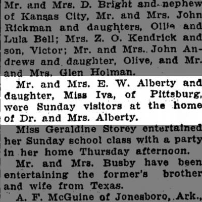 Mr and Mrs E W Alberty and daughter Iva and Dr and Mrs Alberty