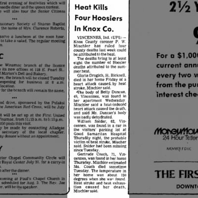 Heat Kills Four In Knox County July 20, 1980 Logansport Pharos-Tribune pg 13