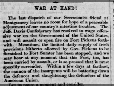 Civil War start, The Liberator, Boston MA April 12, 1861 part 1