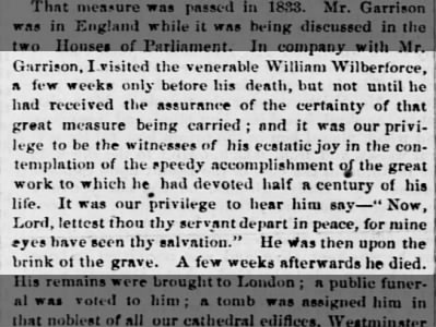 Wilberforce in the days before his death
