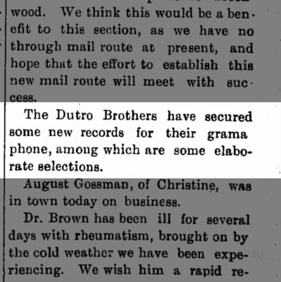 1902 - Dutro Bros of Philo, new gramaphone records