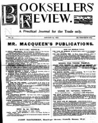 Sample Booksellers' Review front page