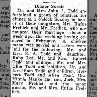 Dinner to celebrate marriage of Rufus Frellick and Eliza Todd