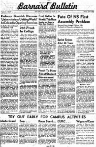 Sample Barnard Bulletin front page