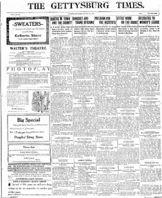 The Gettysburg Times from Gettysburg, Pennsylvania on November 4, 1913 · Page 1
