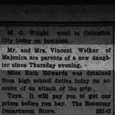 8 jan 1909 welker