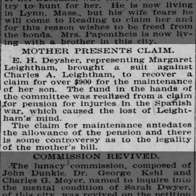 Claim for money by Margaret against Charles Leightham