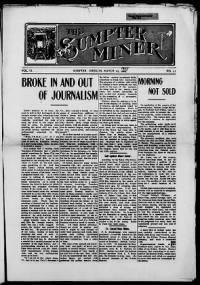 Sample The Sumpter Miner front page