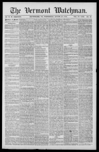 Sample The Vermont Watchman front page