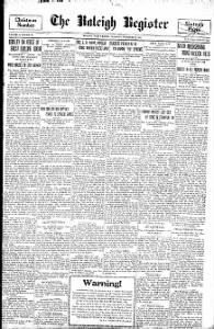 Sample The Raleigh Register front page